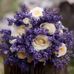 ROses and lavender wedding bridal florals