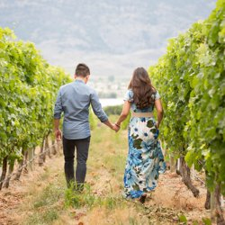 A couple holding hands, walking in a vineyard