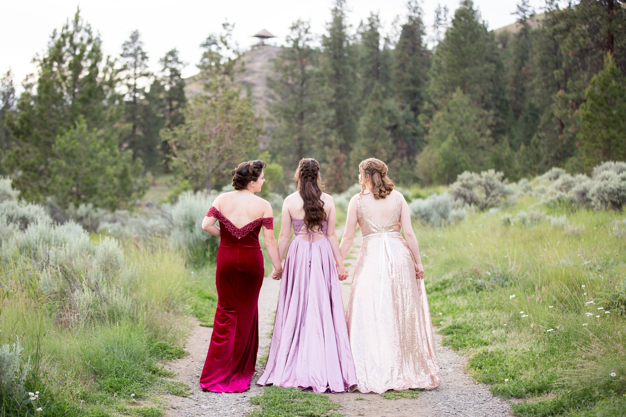 A grad and her two freinds walking away in their grad dresses